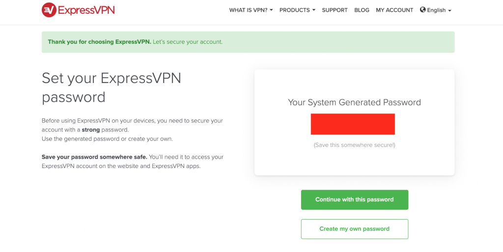 ExpressVPN Set Password